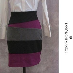 Fenn Wright Manson Black Purple Gray Skirt Size 6